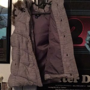 Gap puffy vest with hoodie.